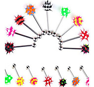 Stainless Steel Tongue Piercing Ring Body Jewelry Random Color