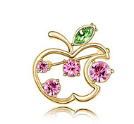 High Quality Crystal Apple Brooch for Wedding Party Lady