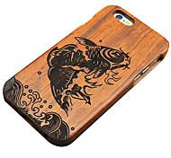 peixes pera pulando de madeira entalhada caso do iphone duro tampa traseira de proteção para 6s iphone plus / iphone 6 plus / iphone 6s /