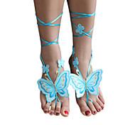 Women's New Style Butterfly Crochet Wedding Anklet Handmade Barefoot Sandals