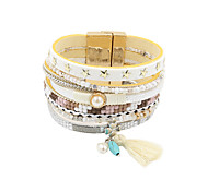 leather Charm BraceletsFashion Women Multi Rows Decorated Leather Bracelet