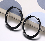 Hoop Earrings Stainless Steel Fashion Circle Black Jewelry Party Daily Casual 1 pair