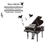 European Style Big Piano Note Wall Stickers DIY Fashion Music Is My Life Wall Decals