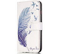 For iPhone 6 Case / iPhone 6 Plus Case Card Holder / Flip Case Full Body Case Feathers Hard PU LeatheriPhone 7 Plus / iPhone 7 / iPhone