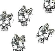 10шт серебро панк черепа с 3d горный хрусталь Bow Tie украшения искусства ногтя