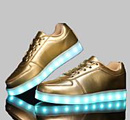 Calçados Femininos - Tênis Social - Conforto / Arrendondado - Rasteiro - Preto / Branco / Prateado / Dourado - Sintético -Social / Casual