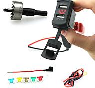 iztoss двойной USB стиль зарядное гнездо штекер коромысла с вольтметра красный светодиод и провода держатель предохранителя и твист drilli