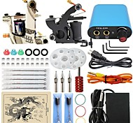 Professional Complete 2  Tattoo Machine Kit Power Supply Needle Grips Tips