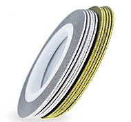 10pcs Rolls Of Laser Gold Silver Glitter Striping Tape Line Nail Art Tips Decals Beauty Transfer Foil Stickers For Nails