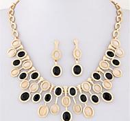 Women European Style Fashion Simple Wild Shiny Metal Concise Gem Opal Necklace Earring Set