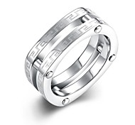 lureme® Vintage Unisex Two Lines Hollowed Out Stainless Steel with Ring