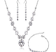 High Quality AAA Zircon Crystal Jewelry Set include Necklace & Earrings&Bracelet  for Wedding Party LadyImitation Diamond Birthstone