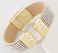 Women's European Style Fashion Simple Metal Shiny Rhinestone Magnet Mracelet