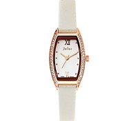 Julius® Fashion Temperament Office Lady Watch Tonneau Case Rhinestone Women Leather Belt Waterproof Wristwatch JA-743 Cool Watches Unique Watches