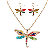 Women European Style Fashion Colorful Cute Dragonfly Necklace Earring Set