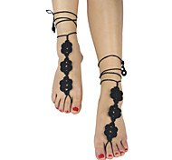 Women's Flowers crochet Barefoot Sandals foot Hollow Out Ankle Anklet