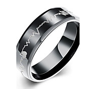 lureme® Unisex High Quality Black Stainless Steel with Heartbeat Line Ring