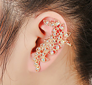 Unisex Fashion Gold/Silver Leaf Crystal Alloy Stud Ear Cuffs Earrings Jewelry(1PC)