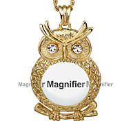 New Design Women Reading Glass Crystals Neckalce 2x Magnifying Glass Pendant Fashion Owl Cute Look 18KGP Platinum Plated