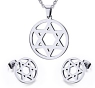 Women's Hollow Star Style Stainless Steel Necklace Earrings Jewelry Set