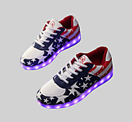 Women's Shoes Leatherette Spring / Summer / Fall Round Toe Outdoor / Casual / Athletic Flat Heel Lace-up Blue