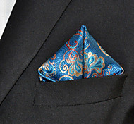 Men's Floral  Blue Pocket Square 100% Silk Wedding Business
