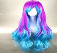 мода цвет шапки смесь долго свободные волнистые парик партии высшего качества парики из синтетических волос с боковой челкой 2 цвета