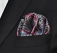 Men Dark Gray Paisley 100% Silk  Pocket Square Business Fashion
