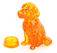 ABS 3D DIY Dog Crystal Puzzle Animal Educational Toys For Kids Or Adults Clear/Yellow