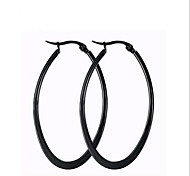 Earring Oval Jewelry Women Fashion Party / Daily / Casual Titanium Steel 1 pair Black