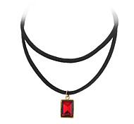 Женский Ожерелья с подвесками Татуировка Choker Хрусталь Кожа Сплав Тату-дизайн Мода Черный Красный Зеленый Синий БижутерияСвадьба Для