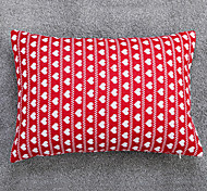 Knitted Love Heart Cushion Cover-Red