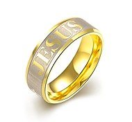"lureme® Stainless Steel Golden Plated Ring with ""JESUS"""