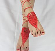 marfim crochet das mulheres sandálias descalços sapatos nude jóias pé sapatos de dama de honra tornozeleira