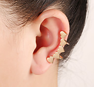Unisex Fashion Gold/Silver Heart Alloy Stud Ear Cuffs Earrings Jewelry(1PC)