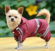 Собака Дождевик Одежда для собак Водонепроницаемый Сплошной цвет Желтый Красный Зеленый