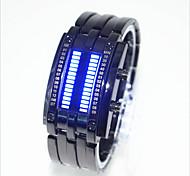 Мужской Женские Для пары Модные часы Уникальный творческий часы Цифровой LED Защита от влаги сплав Группа КреативЧерный Серебристый