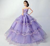Poupée Barbie-Violet-Princesse-Robes- enOrganza / Dentelle