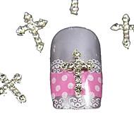 10pcs   Silver Rhinestone Crossing Finger Tips Accessories Nail Art Decoration