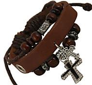 Punk 7cm Men's coffee Leather Leather Bracelet (1 Pc)