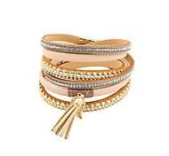 Bracelet Charmes pour Bracelets / Bracelets Wrap / Bracelets en cuir Alliage / Cuir / Acrylique / Strass / MolletonGland / Mode / Vintage