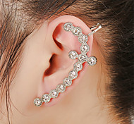 Unisex Fashion Gold/Silver Cross Crystal Alloy Stud Ear Cuffs Earrings Jewelry(1PC)