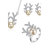 Imitation Pearl / Silver Plated Jewelry Set 3 pcs Wedding / Party / Daily / Casual 3pcs