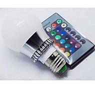 3W E26/E27 LED Kugelbirnen A60(A19) 1 Hochleistungs - LED 100-150 lm RGB Ferngesteuert AC 85-265 V 1 Stück