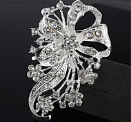 High-quality Exquisite Fashion Silver Flower Rhinestone Brooch