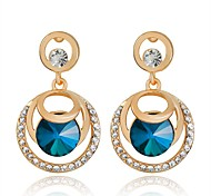Luxury Dark Blue Crystal Circle Drop Earrings Micro Insert Fashion Jewelry for Women