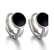 2016 Korean Women 925 Silver Sterling Silver Jewelry Black Acrylic Round Earrings Stud Earrings 1Pair
