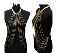Joyería Corporal/Cinturones metálicos Para Cuerpo collar arnés Chapado en Oro Sexy Bikini Crossover Moda Dorado 1 pieza