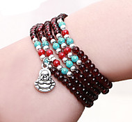 Fashionable Dark Red 88cm Round Strand Bracelets