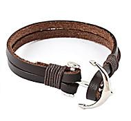 Men's Fashion Personality Titanium Steel Anchor Leather Bracelet